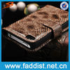 Brown snake pattern wallet phone case for iphone 4 4s