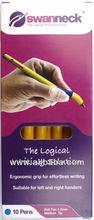School Stationery Swanneck ballpoint pens pack of ten yellow barrel