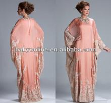 2014 seksi yeni uzun kollu annesi gelin elbise şifon dantel boncuklu aplike arap müslüman resmi kadın elbisesi jq3309