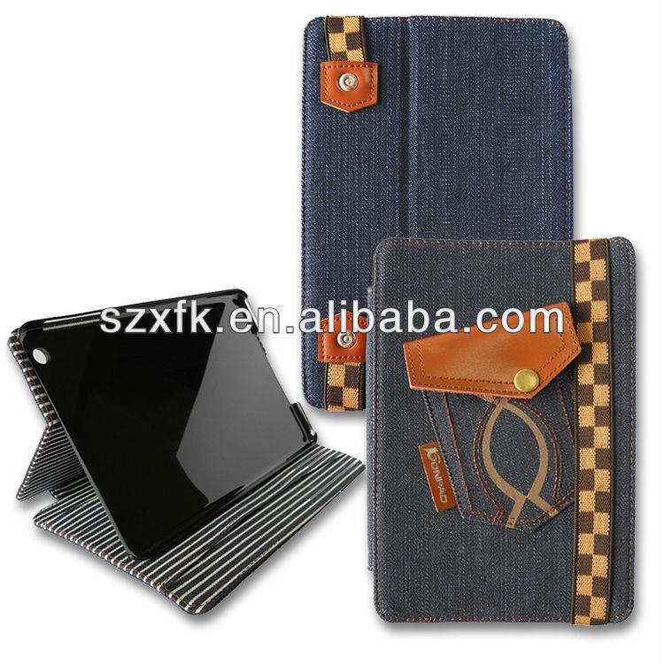 jean pu for ipad mini case; hold pouch jean case for ipad mini case