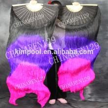 Venta caliente chino abanico de seda para la danza del vientre, danza del vientre abanico velos, danza del vientre abanico