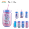 Promotional Plastic Mason Jars with Straw and paper insert BPA free