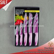 5 pcs plastic handle non-stick knifes set kitchen