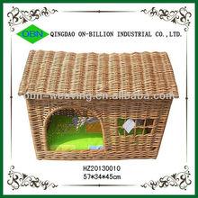 Woven wicker handmade dog house