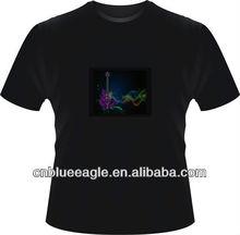 Popular design 100% cotton round neck led t shirt led music light t shirt
