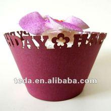 Laser cut happy birthday cupcake wraper ZB-018