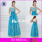 XL360 new fashion bateau neckline luxury beaded crystals lace skirt open back floor length evening dress 2014