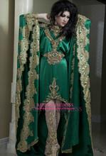 2014 New Arrival Fancy High Quality Long Sleeves Green Satin High Collar Gold Applique Arabic Evening Dresses Abaya Dubai Kaftan