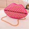 2014 new design shine pu leather lips cell phone shoulder bag handbag for girls