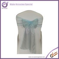 3536 light blue color organza wedding chair sash make chair bow for wedding decorations,more 70 colors inventory