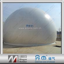 Membrane biogas storage plant