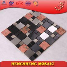 sliver, rust brown and black mosaic bench SA45