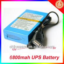 Blue Rechargeble li-ion battery pack 6800mah 12V/13000mah 5V for CCTV Camera or mobile phone
