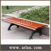Simple wooden long park bench with cast iron legs FW11