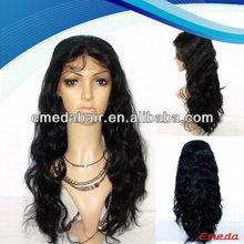Fashion natural wavy brazilian virgin hair full lace wigs with bangs