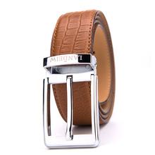 Fasion Crocohide Pattern Genuine Leather Brown Designer Men Waist Belt With Pin Buckle
