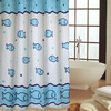 printed fish fabric curtain with 12 hooks shower curtain