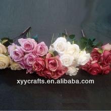 5heads rose flower,artificial rose bush,cheap artificial flower