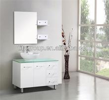 New Executive Single Bathroom Vanity Unit Basin Mirror Shelves 1000mm