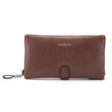 Fashion Men Design Brown Genuine Leather Long Style Envelope Clutch Bag