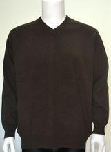100% Mongolian Cashmere Men's Brown V-neck Pullover