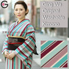 Washable Kimono Store Green Dark Red Stripe Lady Polyester Tailored Kimono Ethnic Costume Dress Kimono