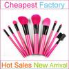 9pcs pink plastic handle custom cosmetic brush set