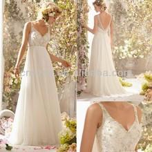 Free Shipping Ivory Wedding Dress Low Cut Back -- AA362