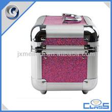 rose red diamond pattern professtional handle aluminum vanity case makeup box cosmetic case beauty box