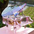 Cristal de cristal caja de música del piano decoración de la boda de la navidad de regalo 3d de grabado láser