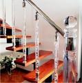 Roble blanco de madera maciza rectas de un solo carrete con escaleras de cristal/balaustrada de acrílico cuadrado husos newels y hacer para ordenar