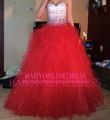 2014 de alta calidad baratos occidental puffy vestido de bola del piso- longitud de organza de novia con volantes de diamantes de imitación de color rojo con cuentas vestidos de fiesta de quince años