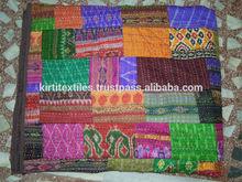 KTH- 03 kantha silk patch bedcover vintage bedspread silk bedsheet