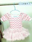 hot sale cute pink chevron dress for kids/baby girls chevron dress/children cloth
