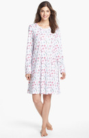 Plus Patterns Round Neck Long Sleeves Wholesale Lady Cotton Nightgowns