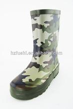 Navy camo rubber rain boots