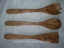 Olive wood salad utensils spoon fork spatula (set of 3)