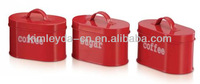 Oval kitchen storage tea sugar coffee canisters in red