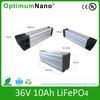 High energy density 36V 10Ah lifepo4 electric bike battery