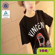 Simple Red Lip Printed Korea Women Clothing Casual Tee Tshirts