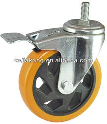Medium duty screw PVC caster wheel,threaded rod castor