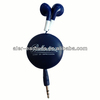 Retractable Mobile Earphones Funky Wired Headsets with Retractable Earbuds, Assorted Colors - Retail Packaging