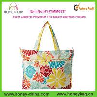 Super Zippered Flower Waterproof Mommy Nylon Diaper Tote Bag