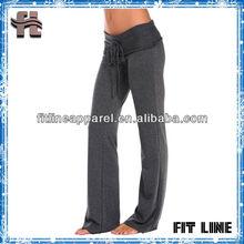 bamboo fiber high waist womens yoga pants/ custom logo print long pants for yoga fitness