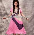 2013 verano caliente venta largaalto dobladillo de hendidura franja fronteriza de vestir para niñas