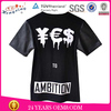 2014 custom printed t-shirt with leather sleeves cotton t-shirt custom t-shirt