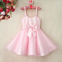 2015 New Arrival Girls Party Dresses Baby Pink Slip Dresses With Pearl And Bows Kids Fashion Party Dresses GD40418-3