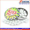 private label bacio gusto menta compressa caramella in barattolo di latta