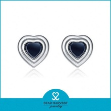 Charm heart shaped stud agate jewelry earrings