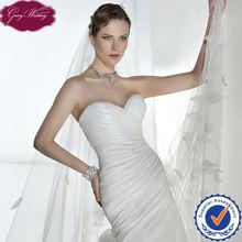 Goingwedding Simple Ruched Sweetheart Neckline Wedding Dress Organza Fabric HS036